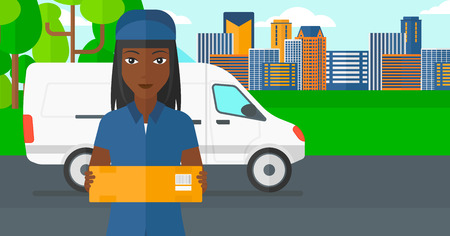 shipper: An african-american delivery woman carrying box on the background of the city and delivery truck vector flat design illustration. Horizontal layout. Illustration