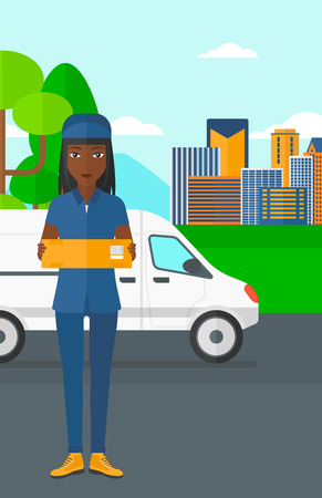 shipper: An african-american delivery woman carrying box on the background of the city and delivery truck vector flat design illustration. Vertical layout.