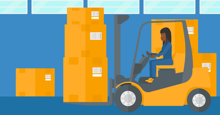 An african-american woman moving load by forklift truck on the background of warehouse vector flat design illustration. Horizontal layout.