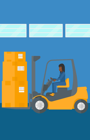 An african-american woman moving load by forklift truck on the background of warehouse vector flat design illustration. Vertical layout. Ilustracja