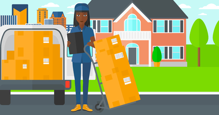 An african-american delivery woman standing near cart with boxes and holding a file in a hand on the background of delivery truck and a house vector flat design illustration. Horizontal layout.