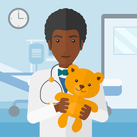 hospital gown: An african-american pediatrician holding a teddy bear on the background of hospital ward vector flat design illustration. Square layout.