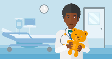 pediatrician: An african-american pediatrician holding a teddy bear on the background of hospital ward vector flat design illustration. Horizontal layout. Illustration