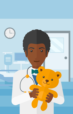 pediatrician: An african-american pediatrician holding a teddy bear on the background of hospital ward vector flat design illustration. Vertical layout.