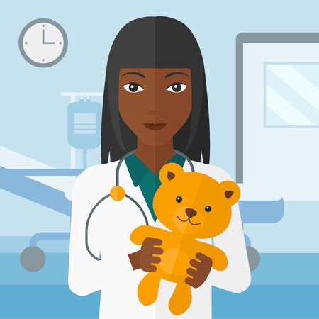 pediatrist: An african-american pediatrician holding a teddy bear on the background of hospital ward vector flat design illustration. Square layout.