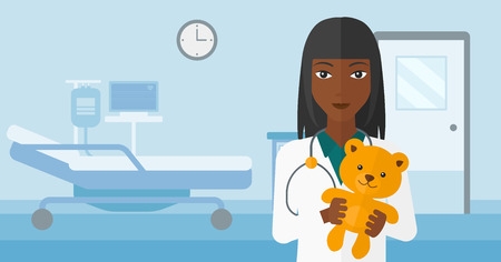 ward: An african-american pediatrician holding a teddy bear on the background of hospital ward vector flat design illustration. Horizontal layout. Illustration