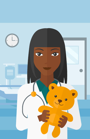 hospital gown: An african-american pediatrician holding a teddy bear on the background of hospital ward vector flat design illustration. Vertical layout.