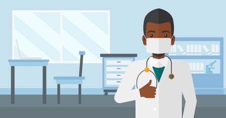 protective gown: An african-american doctor in mask showing thumb up on the background of medical office vector flat design illustration. Horizontal layout. Illustration