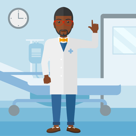 hospital ward: An african-american doctor in medical gown showing finger up on the background of hospital ward vector flat design illustration. Square layout.