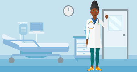 hospital gown: An african-american doctor in medical gown showing finger up on the background of hospital ward vector flat design illustration. Horizontal layout.