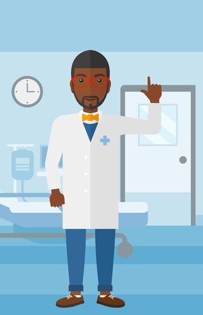 hospital gown: An african-american doctor in medical gown showing finger up on the background of hospital ward vector flat design illustration. Vertical layout. Illustration
