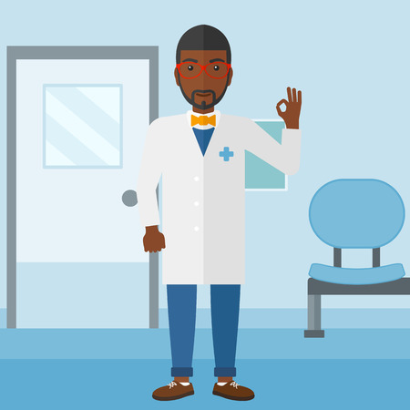 hospital gown: An african-american doctor in medical gown showing ok sign on the background of hospital corridor vector flat design illustration. Square layout.