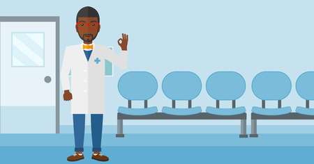 hospital corridor: An african-american doctor in medical gown showing ok sign on the background of hospital corridor vector flat design illustration. Horizontal layout. Illustration