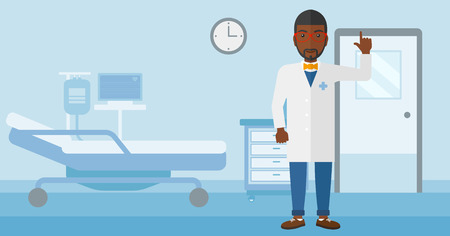 An african-american doctor in medical gown showing finger up on the background of hospital ward vector flat design illustration. Horizontal layout.