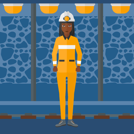 mine lamp: An african-american woman in hardhat with torch on the background of mining tunnel with lights and rails vector flat design illustration. Square layout.
