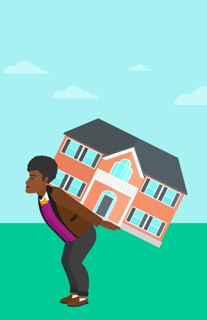 An african-american man carrying a big house on his back on a sky background vector flat design illustration. Vertical layout.