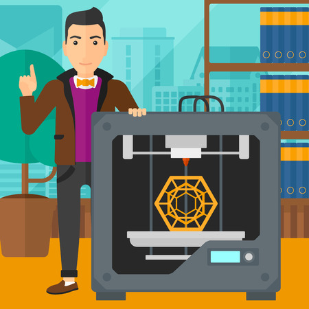 man pointing up: A man standing near 3D printer and pointing forefinger up on the background of panoramic modern office with city view vector flat design illustration. Square layout.