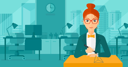 polymerization: A woman making a model with a 3D pen on the background of panoramic modern office with city view vector flat design illustration. Horizontal layout.