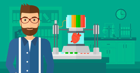 A hipster man with the beard standing near 3D printer making a heart on the background of laboratory vector flat design illustration. Horizontal layout.