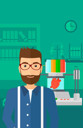 science background: A hipster man with the beard standing near 3D printer making a heart on the background of laboratory vector flat design illustration. Vertical layout.