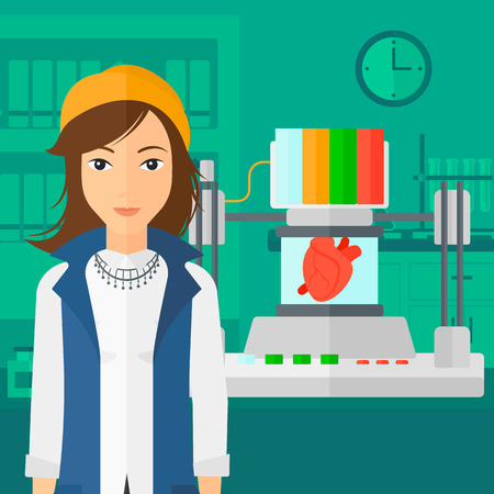 computer science: A woman with 3D printer making a heart on the background of laboratory vector flat design illustration. Square layout.