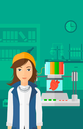 A woman with 3D printer making a heart on the background of laboratory vector flat design illustration. Vertical layout.