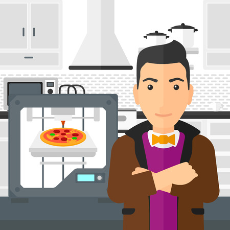 A man standing near 3D printer making a pizza on a kitchen background vector flat design illustration. Square layout.
