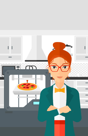 A woman standing near 3D printer making a pizza on a kitchen background vector flat design illustration. Vertical layout.