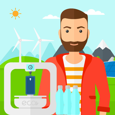 A hipster man with the beard standing near 3D printer making a smartphone using recycled plastic on the background of solar panels and wind turbines in mountains vector flat design illustration. Square layout.