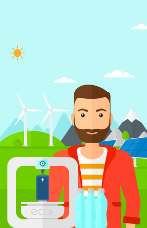 polymerization: A hipster man with the beard standing near 3D printer making a smartphone using recycled plastic on the background of solar panels and wind turbines in mountains vector flat design illustration. Vertical layout. Illustration