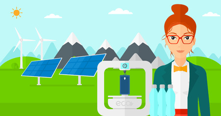 polymerization: A woman standing near 3D printer making a smartphone using recycled plastic on the background of solar panels and wind turbines in mountains vector flat design illustration. Horizontal layout. Illustration