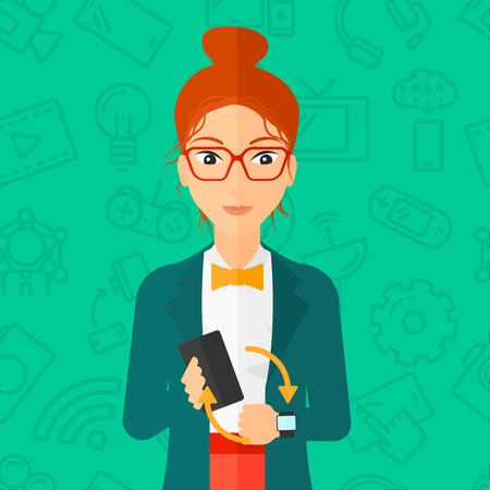 smart woman: A woman holding a smartphone and looking at her smart watch on a green background with technology icons vector flat design illustration. Square layout. Illustration