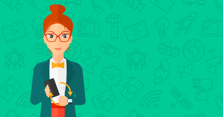 media gadget: A woman holding a smartphone and looking at her smart watch on a green background with technology icons vector flat design illustration. Horizontal layout. Illustration
