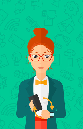 A woman holding a smartphone and looking at her smart watch on a green background with technology icons vector flat design illustration. Vertical layout. Illustration