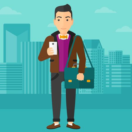 A man using a smartphone on a city background vector flat design illustration. Square layout.
