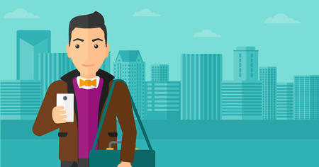 using smartphone: A man using a smartphone on a city background vector flat design illustration. Horizontal layout.