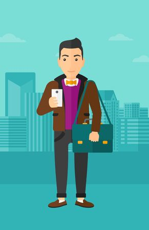 A man using a smartphone on a city background vector flat design illustration. Vertical layout.