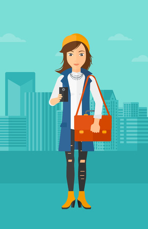 using smartphone: A woman using a smartphone on a city background vector flat design illustration. Vertical layout. Illustration