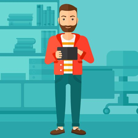 using tablet: A hipster man with the beard using a tablet computer on the background of business office vector flat design illustration. Square layout. Illustration