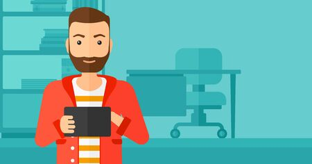 looking at computer screen: A hipster man with the beard using a tablet computer on the background of business office vector flat design illustration. Horizontal layout.
