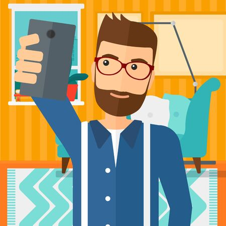 A hipster man with the beard making selfie on the background of living room vector flat design illustration. Square layout.