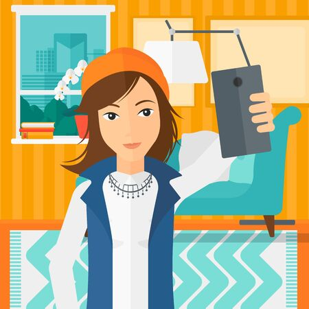 A woman making selfie on the background of living room vector flat design illustration. Square layout.