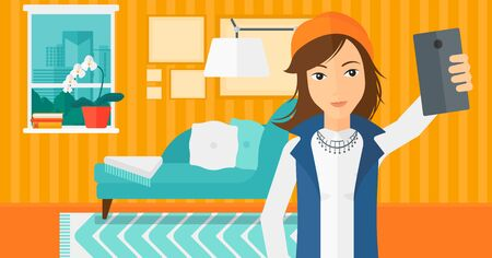 A woman making selfie on the background of living room vector flat design illustration. Horizontal layout.