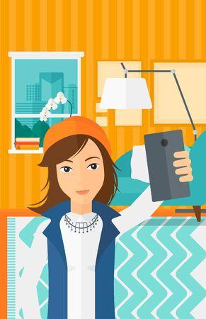 A woman making selfie on the background of living room vector flat design illustration. Vertical layout. Illustration