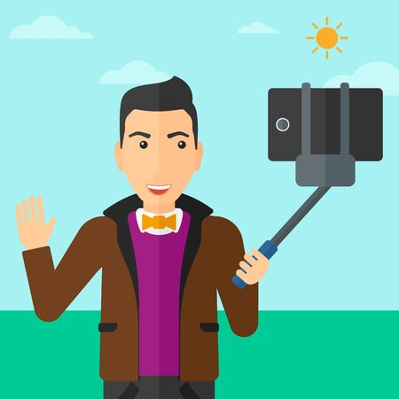 telefono caricatura: A man making selfie with a selfie-stick on the background of blue sky vector flat design illustration. Square layout.
