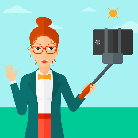 A woman making selfie with a selfie-stick on the background of blue sky vector flat design illustration. Square layout.