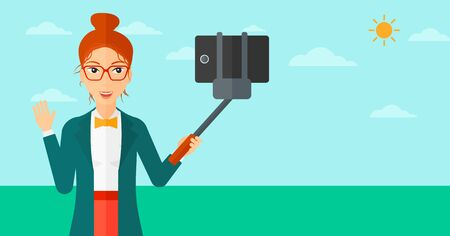 smart phone woman: A woman making selfie with a selfie-stick on the background of blue sky vector flat design illustration. Horizontal layout.