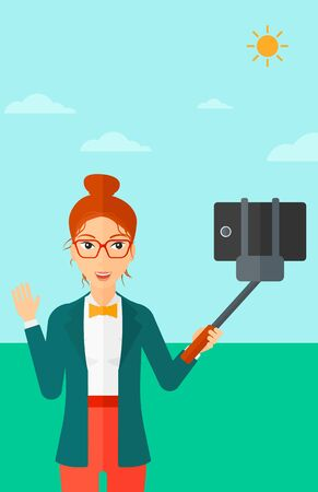 sky sun: A woman making selfie with a selfie-stick on the background of blue sky vector flat design illustration. Vertical layout. Illustration