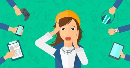 media gadget: A woman in despair and many hands with gadgets  around him on a green background with technology icons vector flat design illustration. Horizontal layout.