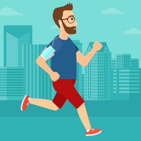 armband: A hipster man with the beard training with earphones and a smart phone armband on a city background vector flat design illustration. Square layout. Illustration